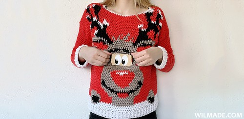 Crochet Reindeer Christmas Sweater