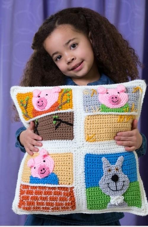 Crochet Three Little Pigs Pillow