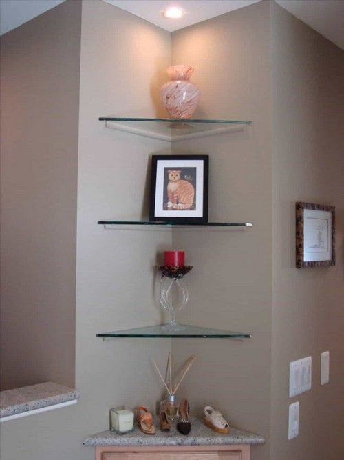 Hallway Complement With White Floating Corner Shelves
