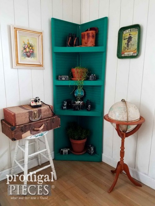 Upcycled Louver Door Corner Cabinet