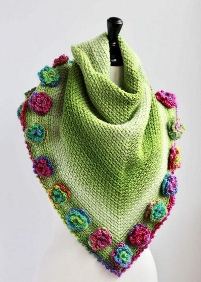 Flower Triangle Shawl Scarf Crochet Pattern