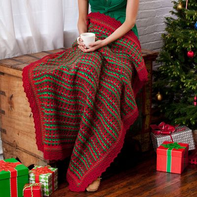Free Crochet Holiday Striped Throw Pattern