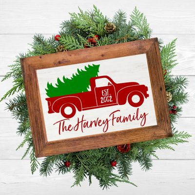 DIY Christmas Vintage Truck Welcome Sign Idea