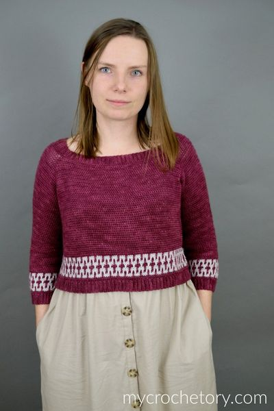 Mosaic Cropped Crochet Sweater Pattern With Complete Instruction