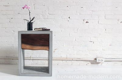 DIY Concrete Walnut Nightstand