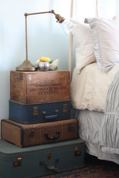 Stacked Vintage Suitcase Nightstand