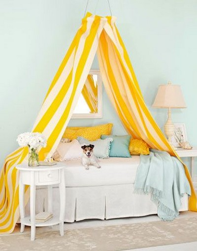 DIY Canopy Bed Yellow Stripes
