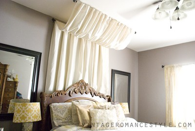 DIY No Sew Table Cloth Bed Canopy
