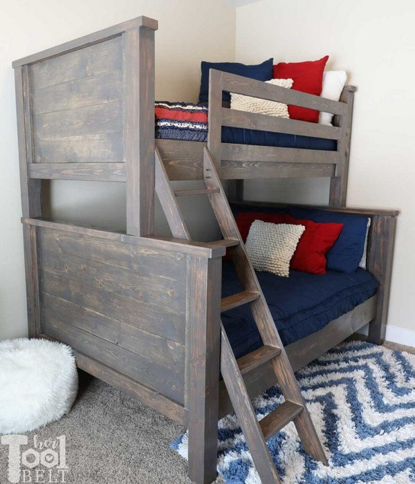 DIY Farmhouse Style Twin Over Full Bunk Bed Plans