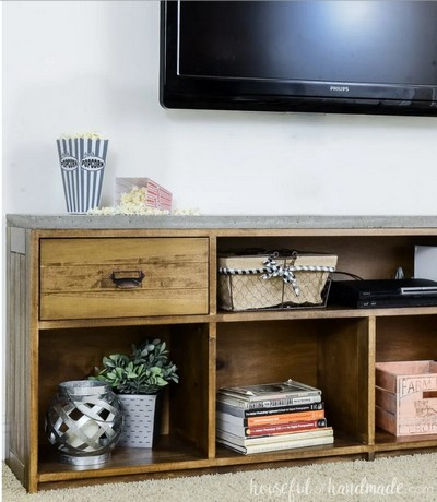 DIY Rustic Tv Stand With Concrete Top