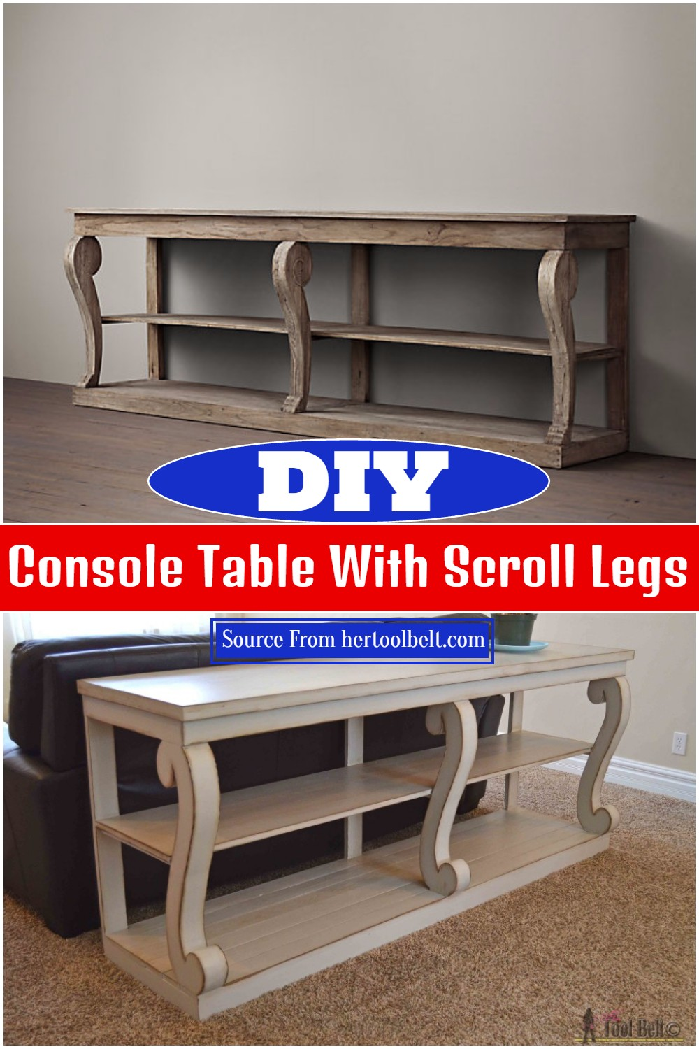 DIY Console Table With Scroll Legs