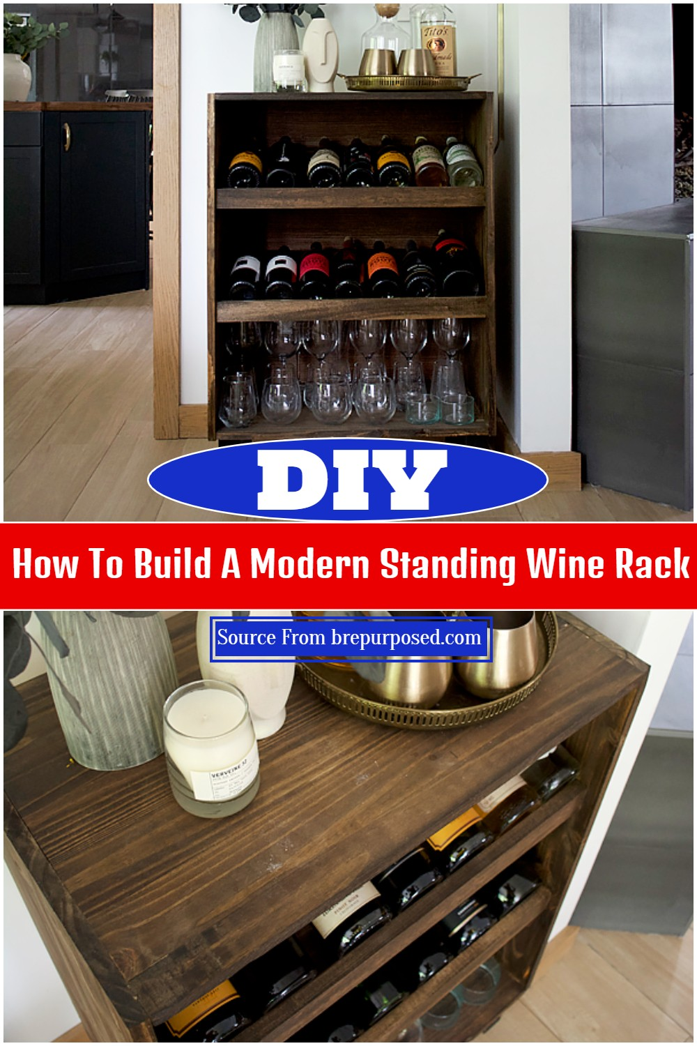 DIY How To Build A Modern Standing Wine Rack