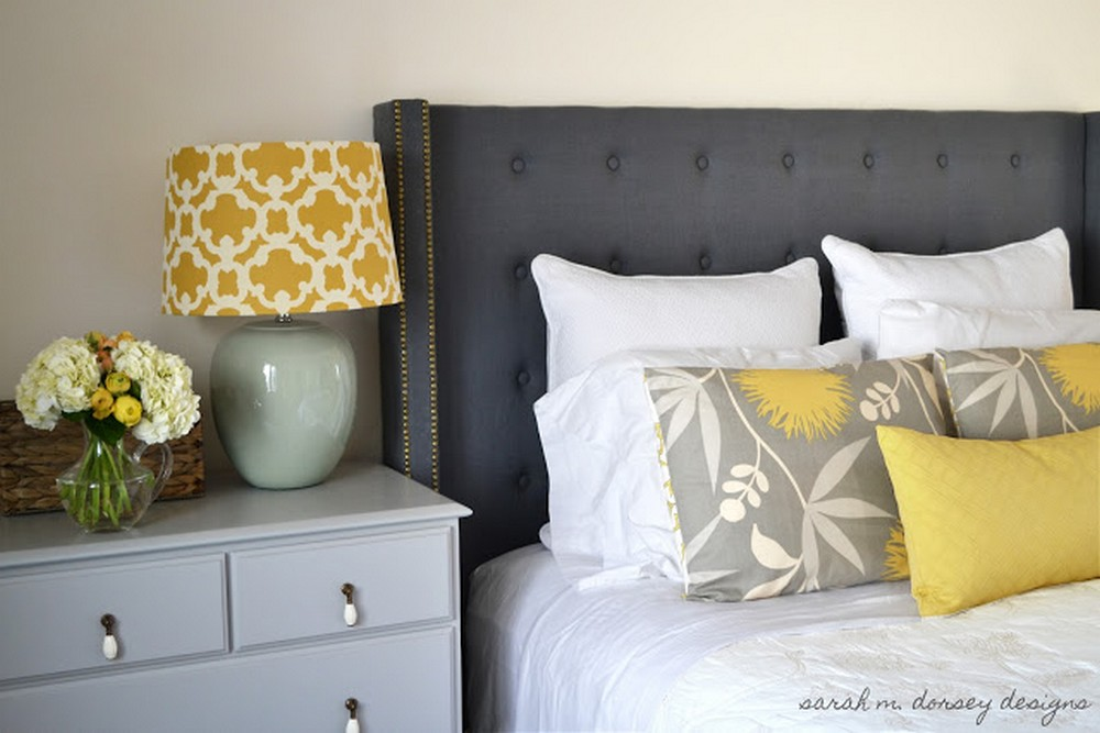 DIY Tufted Headboard with Nailhead and Wings