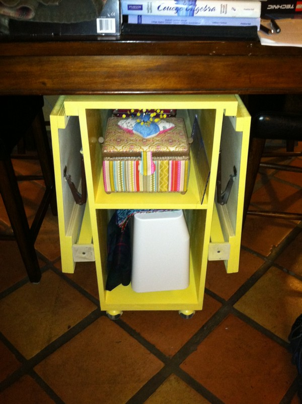 Collapsible Yellow Sewing Table Idea
