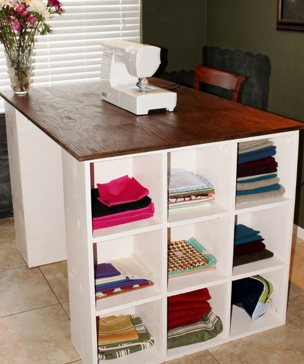 Cubby Crafts And Sewing Table Idea