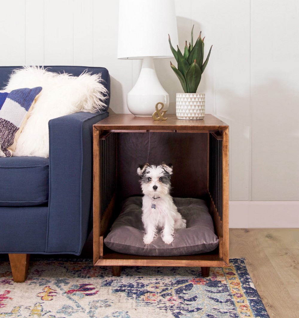 DIY Dog Crate End Table