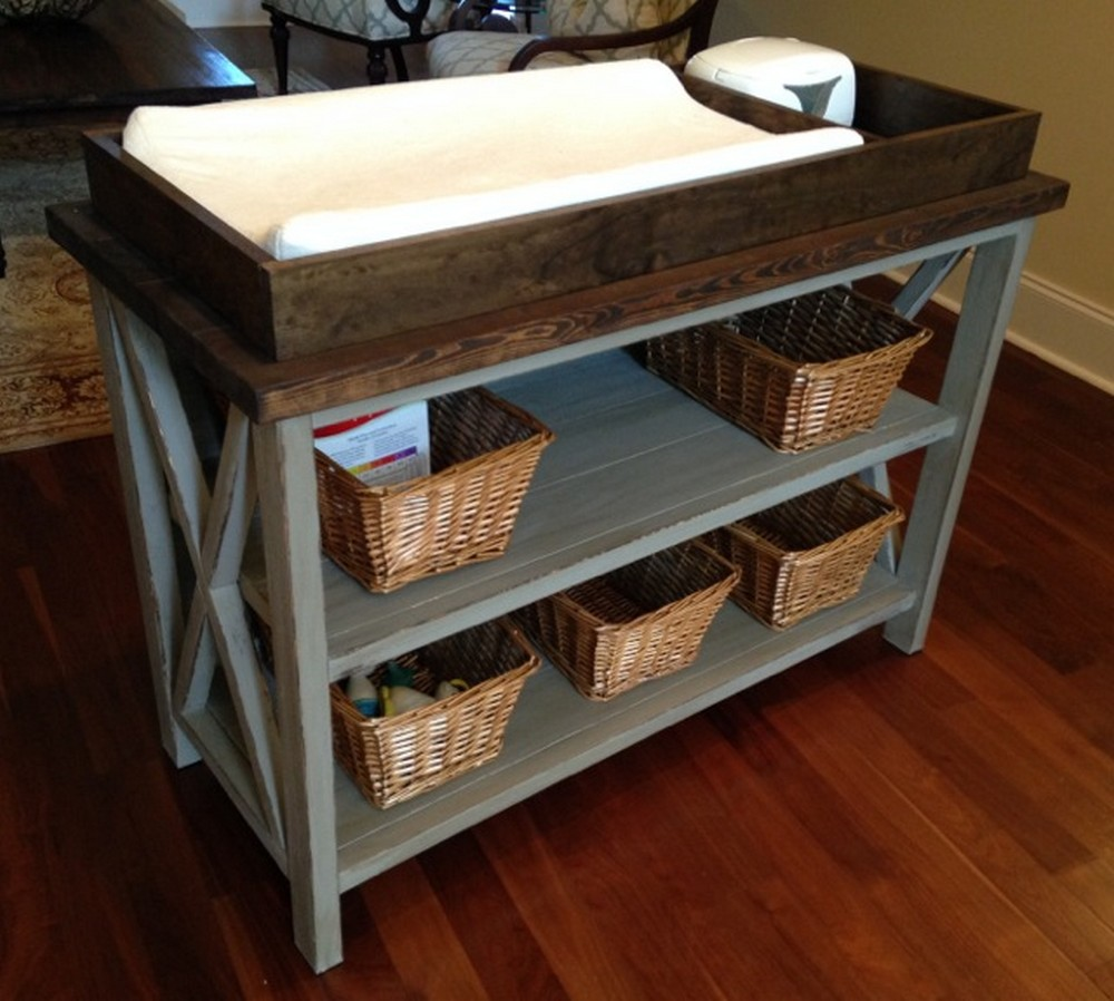 DIY Rustic X Changing Table