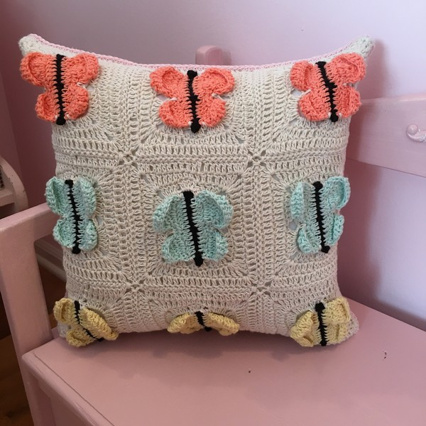 Crochet Butterfly Granny Square Pillow Pattern